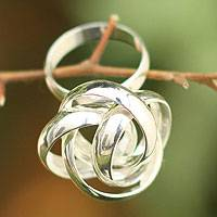 Silver cocktail ring, 'Labyrinth of Life'