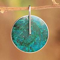 Chrysocolla pendant, 'Magic Circle' - Handcrafted Contemporary Blue-Green Silver Pendant