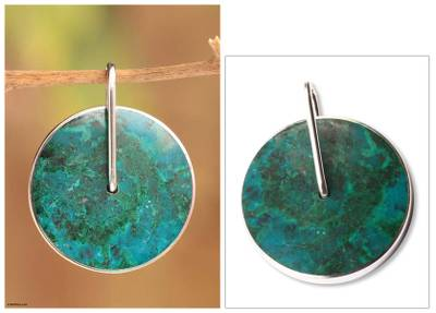 Chrysocolla pendant, 'Magic Circle' - Handmade Modern Fine Silver Chrysocolla Pendant