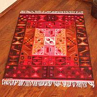 Wool rug, 'Calendar Magic' (4x5.5) - Hand Woven Wool Rug (4x5.5)