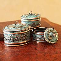 Bronze and copper boxes, 'Andean Life' (set of 3)