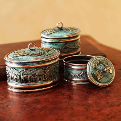 Bronze and copper boxes, 'Andean Life' (set of 3) - Copper and Bronze Decorative Boxes