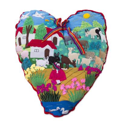Applique throw pillow, 'I Love Our Andean Farm' - Handmade Folk Art Heart Applique Throw Pillow