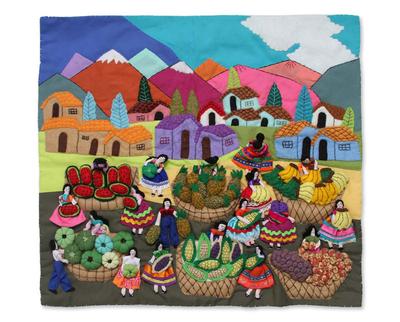 Cotton applique wall hanging, 'Andean Fruit and Vegetable Market' - Handmade Multi coloured Peruvian Arpilleria Applique Wall Ha