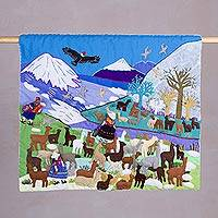 Applique wall hanging, 'Andean Llamas' - Cotton Applique Wall Hanging