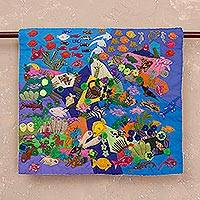 Applique wall hanging, 'Underwater World' - Handcrafted Peruvian Folk Art Wall Hanging