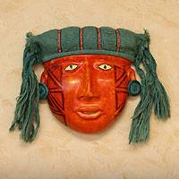Recycled paper and chrysocolla mask, 'Inca Portrait' - Handcrafted Peruvian Paper Mask