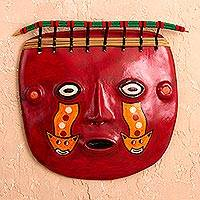 Recycled paper and jasper mask, 'Wari Shaman' - Handcrafted Peruvian Shaman Paper Art Mask