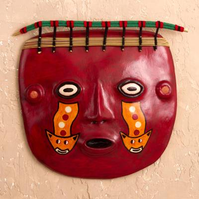 Recycled paper and jasper mask, 'Wari Shaman' - Recycled Paper Mask