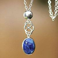 Sodalite pendant necklace, 'Tangled-Up'