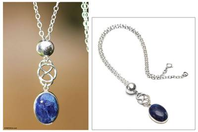 Sodalite pendant necklace, 'Tangled-Up' - Modern Sterling Silver Pendant Sodalite Necklace