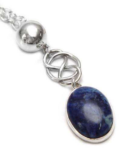 Modern Sterling Silver Pendant Sodalite Necklace