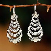 Sterling silver flower earrings, 'Catacos Rose' - Handcrafted in Peru Are These Silver Filigree Earrings