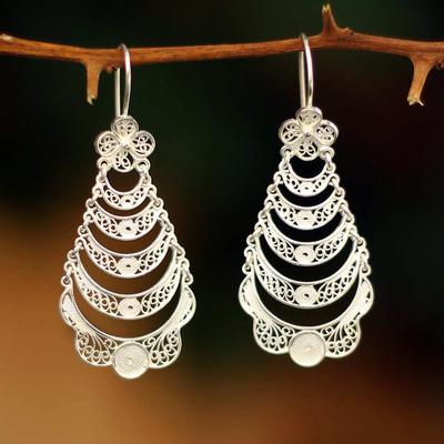 Sterling silver flower earrings, 'Catacos Rose' - Handcrafted Floral Sterling Silver Waterfall Earrings