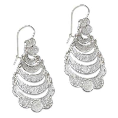 Sterling silver flower earrings, 'Catacos Rose' - Handcrafted Floral Sterling Silver Waterfall Earrings