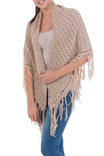 100% alpaca shawl, 'Colonial Beige' - Collectible Alpaca Wool Artisan Crochet Shawl