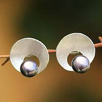 Cultured pearl button earrings, 'Pearl Moons' - Gray Pearl .925 Silver Peruvian Button Earrings