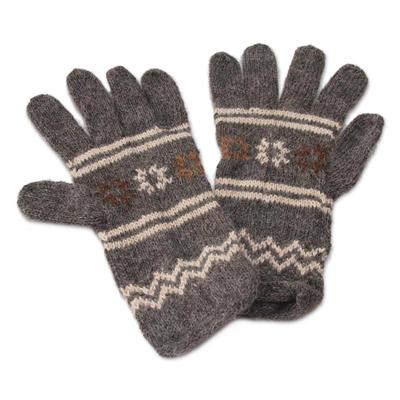Alpaca blend gloves, 'Gray Clouds' - Alpaca blend gloves