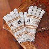 Alpaca blend gloves, 'Misty Clouds' - Alpaca blend gloves