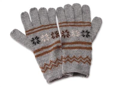 Alpaca blend gloves, 'Misty Clouds' - Alpaca blend gloves