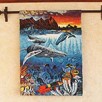 Wool tapestry, 'Ocean Life' - Hand Woven Wall Hanging of Sea Life