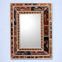 Mirror, 'Warmth of the Earth' - Artisan Crafted Reverse Painted Glass Mirror