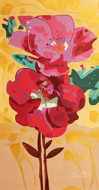 'A Rose' - Peru Fine Art Mixed Media Floral Painting