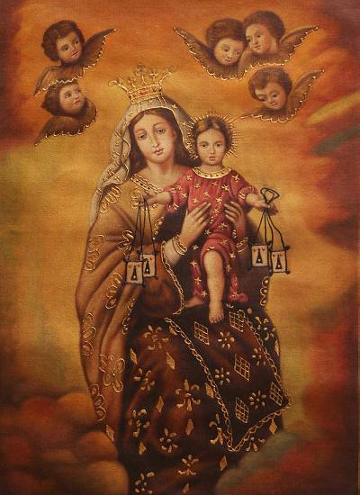 'Virgin of Mount Carmel with the Child' - Oil and Bronze Leaf on Canvas Religious Art