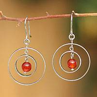 Sterling silver dangle earrings, 'Fire Energy' - Fair Trade Agate Dangle Earrings