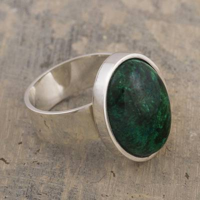 Chrysocolla cocktail ring, 'Encounter' - Hand Crafted Sterling Silver and Chrysocolla Ring