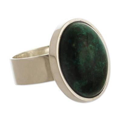 Hand Crafted Sterling Silver and Chrysocolla Ring