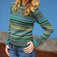 100% alpaca sweater, 'Andean Lakes' - Women's Alpaca Art Knit Pullover Sweater