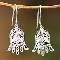 Silver dangle earrings, 'Filigree Tulips' - Silver dangle earrings