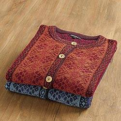 100% alpaca sweater, 'Andean Poinsettia'