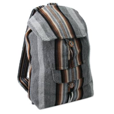 Alpaca blend backpack, 'Winter Skies' - Alpaca blend backpack