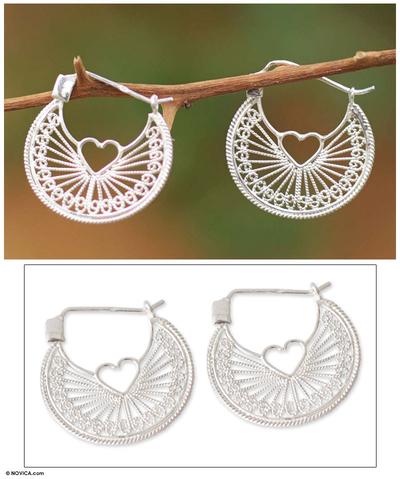 Sterling silver heart filigree earrings, 'Loving Energy' - Handcrafted Heart Shaped Sterling Silver Hoop Earrings