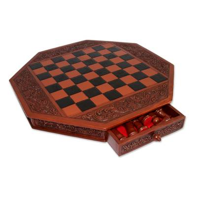 Mohena wood and leather chess set, 'Colonial Octagon' - Artisan Crafted Peruvian Wood Leather Chess Set
