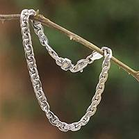 Men's silver braided bracelet, 'Brilliant' - Fair Trade Men's Handcrafted Silver Chain Bracelet