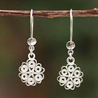 Sterling silver filigree earrings, 'Clover Blossom' - Sterling silver filigree earrings