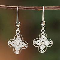 Sterling silver filigree earrings, 'Luminous Cross' - Sterling silver filigree earrings