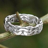Men's braided silver ring, 'Brilliant'