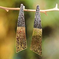 Silver and bronze dangle earrings, 'Radiance' - Handmade Jewelry Silver and Bronze Dangle Earrings