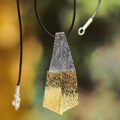 Silver and bronze pendant necklace, 'Radiance' - Leather Sterling Silver and Bronze Pendant Necklace