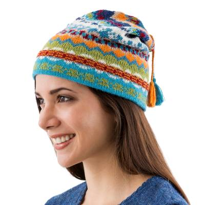 100% alpaca hat, 'Blue Winter' - Artisan Crafted Alpaca Wool Hat