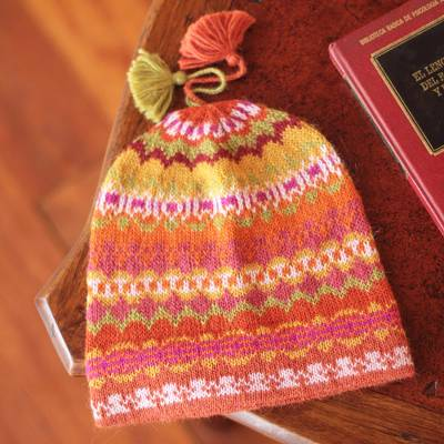100% alpaca hat, 'Sunny Winter' - Pure Alpaca Wool Patterned Hat from Peru