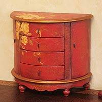 Mohena and pinewood jewelry chest, 'Yellow Rose'