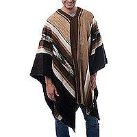 Men's 100% alpaca poncho, 'Earth Celebration' - Men's Fair Trade Alpaca Wool Poncho