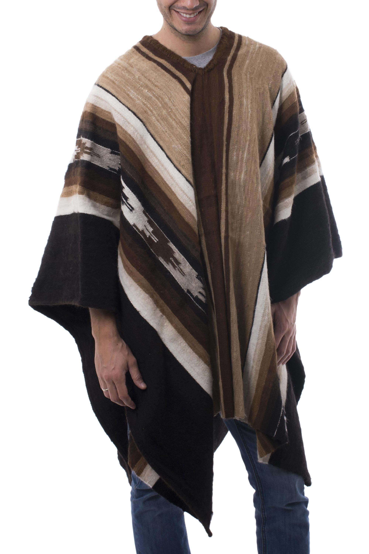 Men's Fair Trade Alpaca Wool Poncho, 'Earth Celebration'