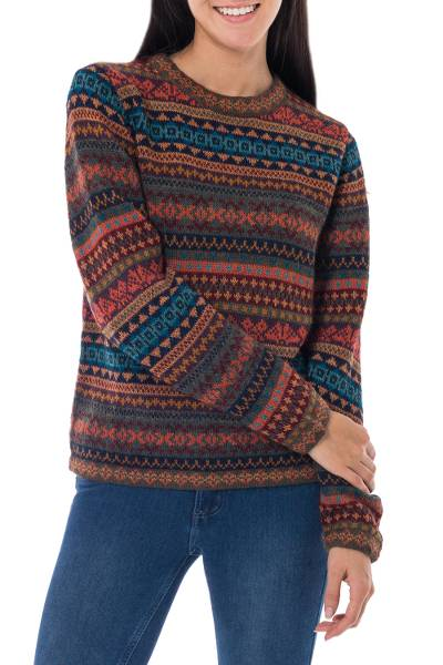 100% alpaca sweater, 'Autumn Medley' - Peruvian Alpaca Wool Sweater