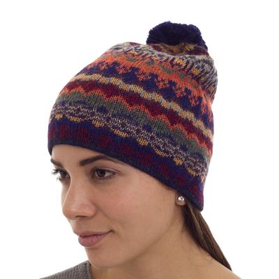 100% alpaca hat, 'Indigo Winter' - Handcrafted 100% Alpaca Wool Patterned Hat